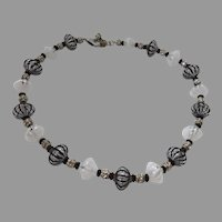 Vintage Murano Glass Bead Necklace Black White