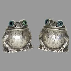 Early 20th Century Sterling Silver Novelty Salt Pepper Shakers Frog with Glass Eyes Hallmarked