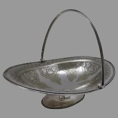 English Late 19th Century Silver Basket with Swing Handle