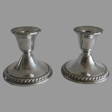 Pair of Vintage Sterling Silver Rogers Candlestick Holders Gadroon Edge