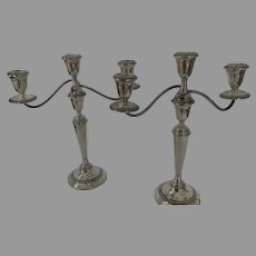Pair of Alvin Sterling Silver S258 Convertible Candelabras Three Arm