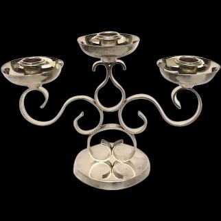 Silver Plated Three Arm Candelabra by Gallia