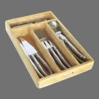 Vintage Laguiole Flatware Stainless Cutlery made in France by Jean Dubost 12 Pieces Made in France