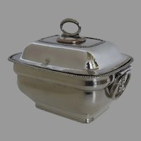 Sheffield Fused Plate Silver Sauce Tureen Lion Head Handles
