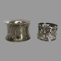 Two Vintage Silver Plated Napkin Rings