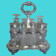 Edward Farrell c Cruet Condiment Eight Bottle Stand Engraved Arms Family Crest