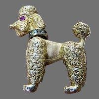 Vintage Napier Poodle Dog Pin Brooch Rhinestone Collar