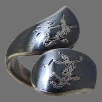 Vintage Siam Sterling Silver Goddess Niello Ring