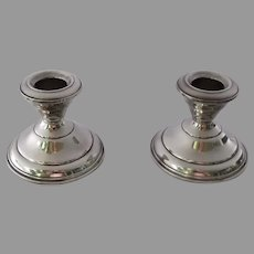 Vintage Sterling Silver Pair Candlestick Holders AMC Weighted