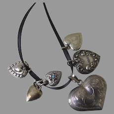 6 x Vintage Sterling Silver Heart Charms Puffy Locket