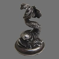 19th Century Silver Dolphin Finial Miniature