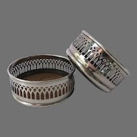 Pair of English Silver Plate Wine Bottle Slides Coasters