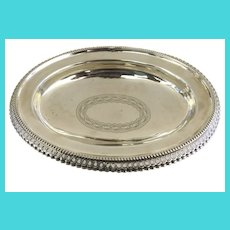 Silver Footed Oval Bowl with Pierced Edge and Bright Cut Center Motif