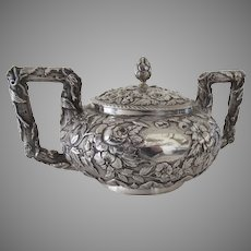 Sterling Silver Covered Naturalistic Repousse Sugar by Bailey and Company 1846-1878