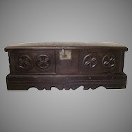 Spanish Oak Carved 17th Century Bench Chest Coffer