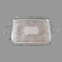 Ellis Barker Large Rectangular Siver Plate Tray Serving c 1900 Menorah Mark