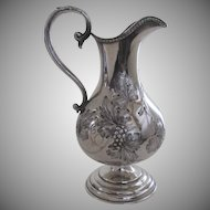 American Coin Silver Pitcher by Tifft & Whiting, North Attleboro, Mass c 1840 Grape Motif