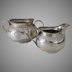 English Fully Hallmarked Sterling Silver Creamer and Sugar by Charles Stuart Harris c 1895 Acanthus Leaf