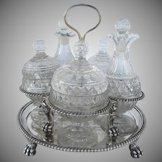 Stunning Double Tier Condiment Stand with Lion Paw Feet and Peacocks by John Emes 1803