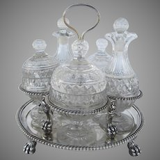 Stunning Double Tier Cruet Condiment Stand with Lion Paw Feet and Peacocks by John Emes 1803