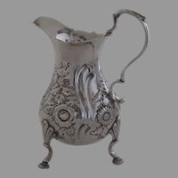 English Sterling Silver Cream Pitcher Hoof Foot Repousse Rococo Cartouche with Family Engraved Crest