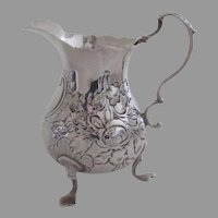 English Fully Hallmarked Sterling Silver Cream Pitcher by David Mowden c 1768 Family crest