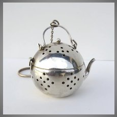 Delightful Silverplate Tea Strainer with Gold Wash Interior Tea Ball