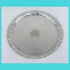 Silver Tray with Pierced Decorated Gallery Grape Vine Motif.