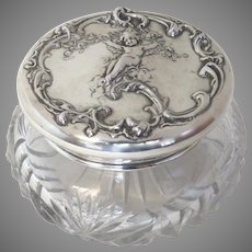 Early 20th Century Large Sterling & Cut Glass Dressing Box Unger Brothers
