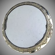 Wonderful Repousse Round Silver Plate Frame Mirror