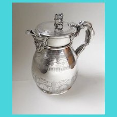 19th Century Silver Plate Lidded Pitcher by G. R. Collis & Co. London