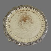 19th Century Old Sheffield Round Salver Tray with Feet