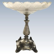 European 800 Fineness Silver Tazza Centerpiece with Crystal Bowl