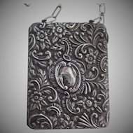 English England Case with Long Chain Purse by Colen Hewer Cheshire Chester Sterling Silver Chased & Repousse Purse c1904