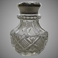 Early 20th Century Sterling Repousse Lid Dressing Bottle Cut Glass