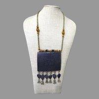 Vintage Afghanistan Enamel and Silver Necklace