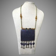 Vintage Afghanistan Enamel and Silver Necklace