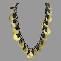 Vintage Dauplaise signed Leaf Dangle Long Necklace