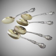 Six Beautiful Art Nouveau Sterling demitasse Spoons in the  Azalia by Blackinton (6)