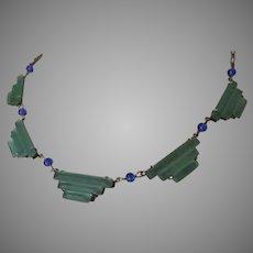 Sterling Chrysoprase Glass Deco Necklace