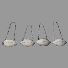 Set of Four English Silver Plate Decanter Tags Early 19th Century