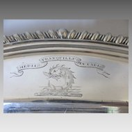 Elkington Platter 1852 Engraved Armorial Crest Coat of Arms Dolphin Fish Latin