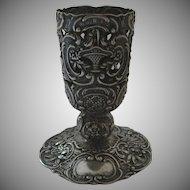 German Repousse 800 Silver Vase Base c 1890 Baskets Flowers
