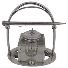 English Silver Plated Inkwell and Stand Late 19th Century Early 20th Century