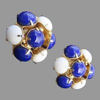 Vintage 1950's Cluster Clip Earrings Navy Blue and White