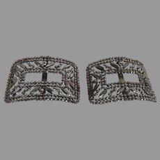 Vintage 1900's French Reyco Cut Steel Marcasite Shoe Dress Belt Buckle Clips