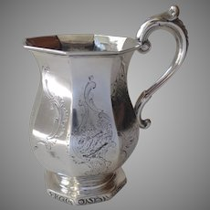 American Silver Octagon Paneled Footed Cup Mug Engraved  c1800
