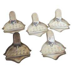 Vintage Set of Five (5) Lemon Citrus Garlic Tea Bag Press Squeezers Made in Hong Kong Bamboo Motif Bar Ware