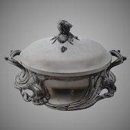Reed & Barton Art Nouveau Iris Silver Plated Covered Casserole c 1905