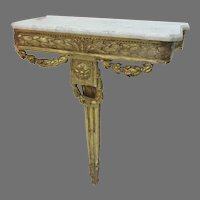 French Carved Gilt Console Table with Marble Top 19th Century